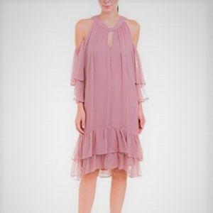 XS S BCBGMAXAZRIA COLD-SHOULDER SILK CHIFFON DRESS